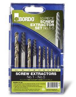 Screw Extractor 10 Pce, L/H Stub Drills