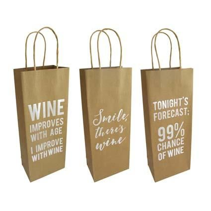 GIFT BAG WINE KRAFT