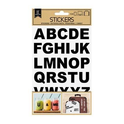 STICKER LABELS ALPHABET BLACK UPPERCASE