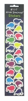 LASER STICKER NZ COLOURFUL KIWIS