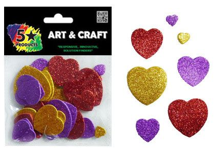 SHAPES SOFT STICKERS GLITTER HEARTS 30PC