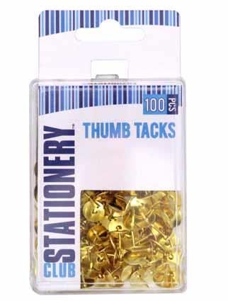 THUMB TACKS BRASS PLATED 100PC