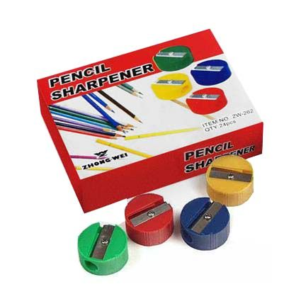 PENCIL SHARPENER ROUND PLASTIC