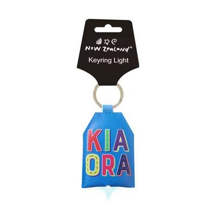 KEYRING LEATHER NZ KIA ORA W LIGHT^