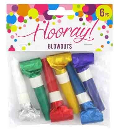 PARTY LOOT BLOWOUTS LASER 6PC^