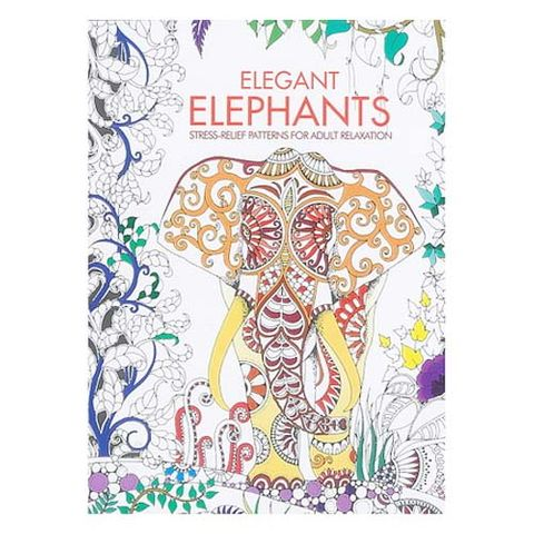 ADULT COLOURING BOOK ELEGANT ELEPHANTS