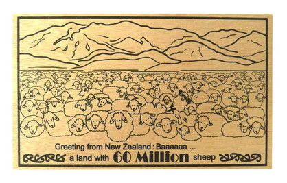 POSTCARD WOODEN 60 MILLION SHEEP