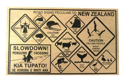 POSTCARD WOODEN NZ ROAD SIGNS