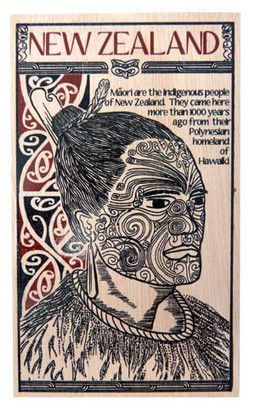 POSTCARD WOODEN MAORI TATTOO