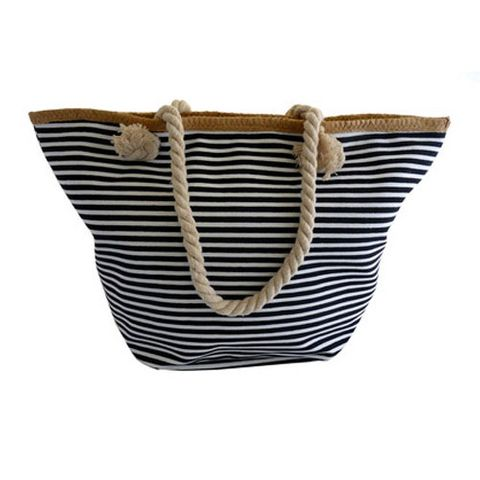 CANVAS BAG BLACK & WHITE STRIPE^