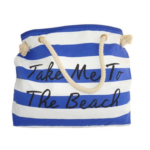 CANVAS BEACH BAG BLUE & WHITE STRIPE^