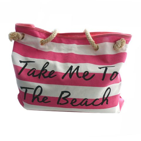 CANVAS BEACH BAG PINK & WHITE STRIPE^