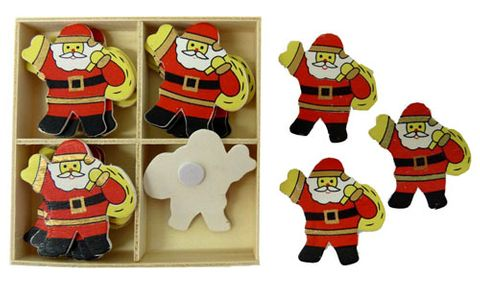XMAS WOODEN SHAPES SANTA CARRYSACK 16P^