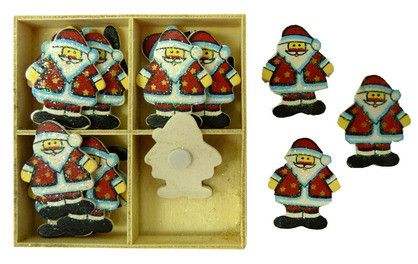 XMAS WOODEN SHAPES SANTA GLITTER16PC^