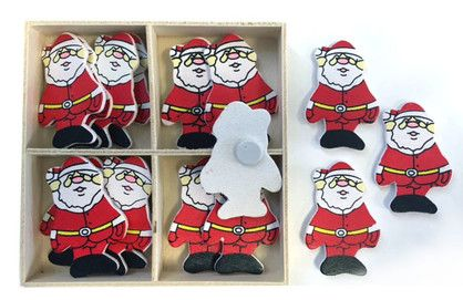 XMAS WOODEN SHAPES SANTA YELL/BELT16PC^