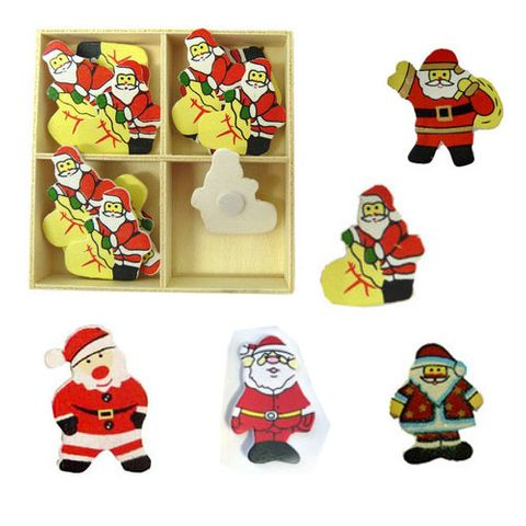 XMAS WOODEN SHAPES SANTA W SACK 16PC^
