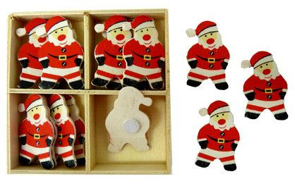 XMAS WOODEN SHAPES SANTA 16PC^