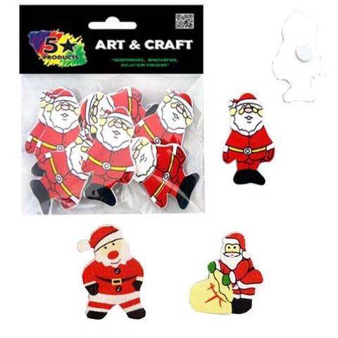 XMAS WOODEN SHAPES SANTA YELL/ BELT 8P^