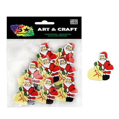 XMAS WOODEN SHAPES SANTA W SACK 8PC^