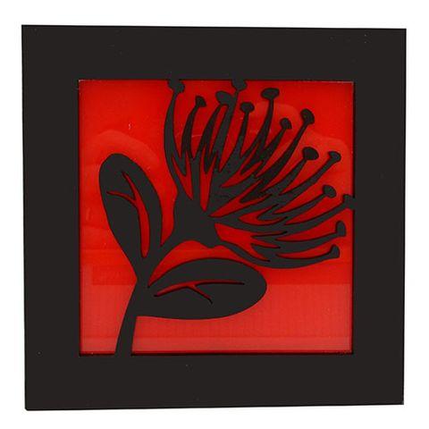 KOHA WALL ART - BLACK POHUTUKAWA ON RED^