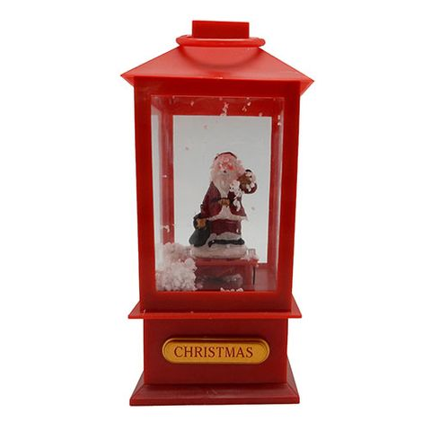 LED XMAS LANTERN SM W BLOWING SNOW