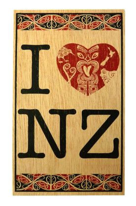 POSTCARD WOODEN I LOVE NZ