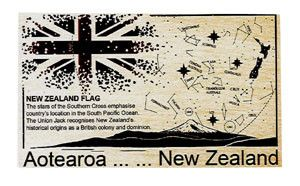 POSTCARD WOODEN NZ FLAG