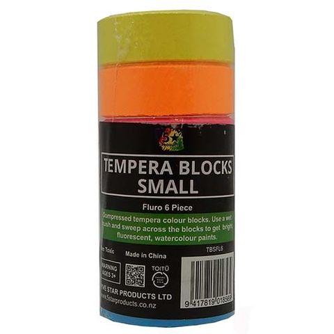 TEMPERA BLOCK SMALL FLURO PACK OF 6