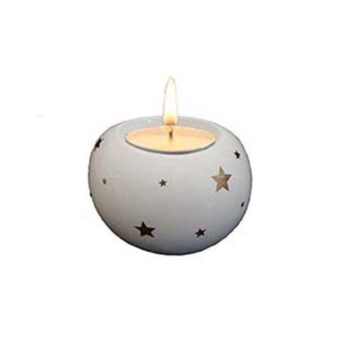 CANDLE HOLDER ROUND WHITE W STARS 43 MM