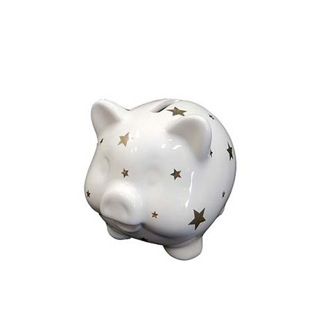 PIGGY BANK - WHITE WITH STARS 82 MM