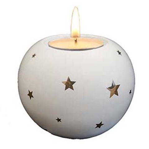 CANDLE HOLDER ROUND WHITE W STARS 77 MM
