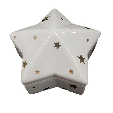 TRINKET BOX - WHITE WITH STARS 65 MM