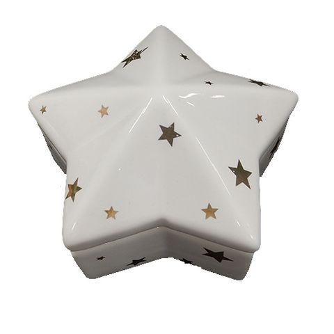 TRINKET BOX - WHITE WITH STARS 65 MM