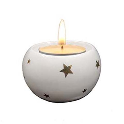 CANDLE HOLDER ROUND WHITE W STARS 65 MM
