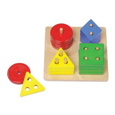 ELF WOODEN COUNT & SHAPE SORTER 16PCS