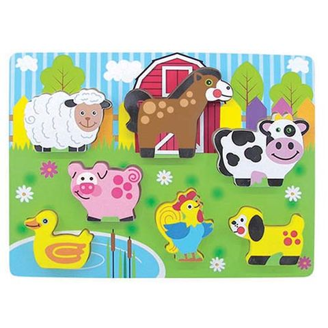 ELF WOODEN CHUNKY PUZZLE 7PCS FARM