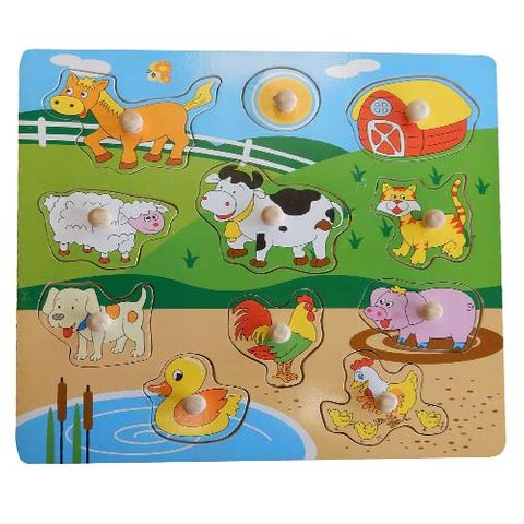 ELF WOODEN PEG PUZZLE 11PCS FARM