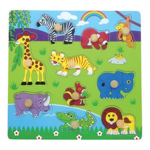 ELF WOODEN PEG PUZZLE 10PCS SAFARI