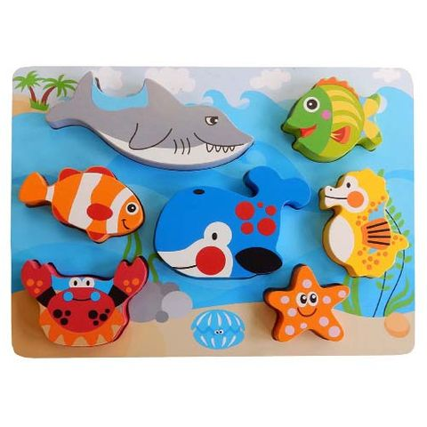 ELF WOODEN CHUNKY PUZZLE 7PCS SEA