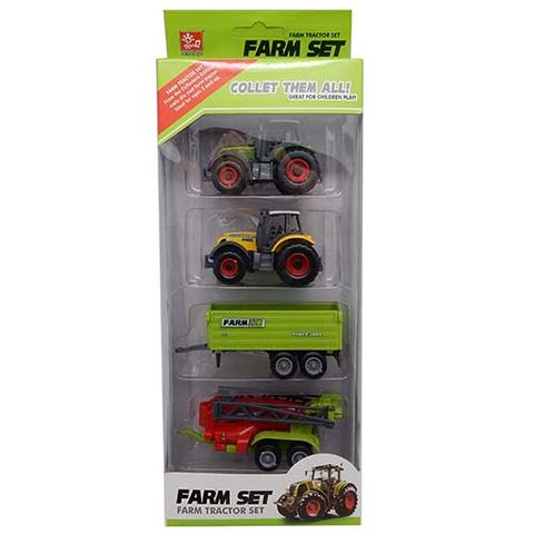 TRACTOR & TRAILER 4 PC SET
