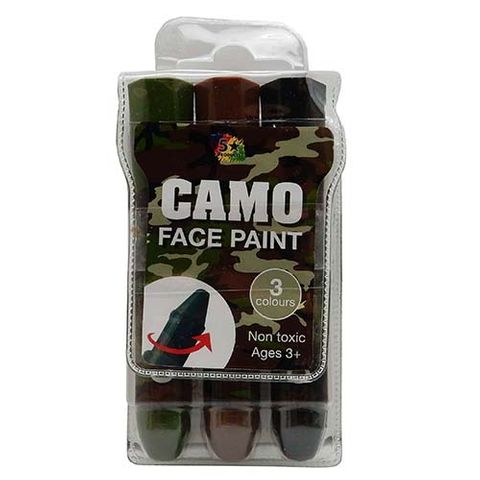 CAMO FACE PAINT PACK - 3 COL APPL STICK
