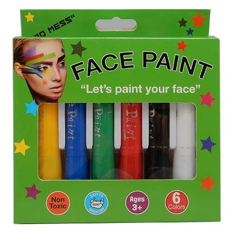 FACE PAINT PACK - 6 COL APPLIC STICKS