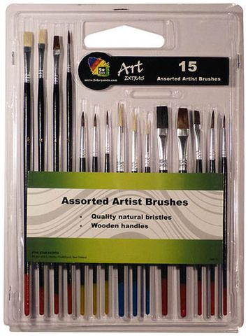 ART EXTRA 15PCS BUDGET BLISTER BRUSH SET