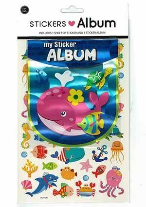 STICKER ALBUM SEA ANIMALS W STICKERS