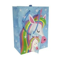 GIFT BAG SMALL UNICORN BLUE