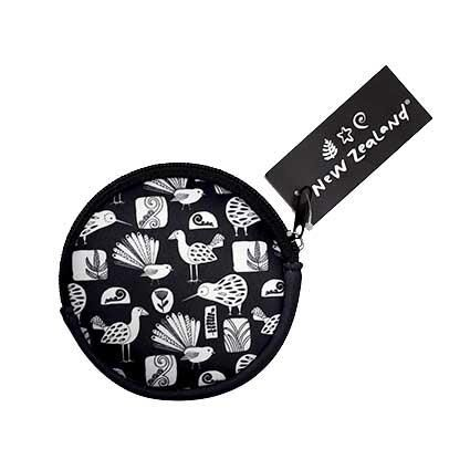 COIN PURSE NZ BIRDS B&W 10CM