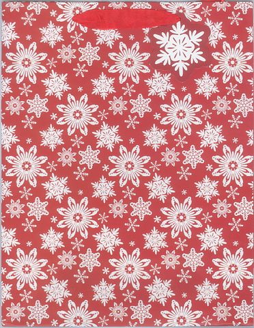 GIFT BAG XMAS LARGE RED W SNOWFLAKES^
