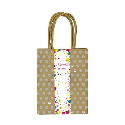 GIFT BAG SMALL KRAFT SILVER FOIL DOTS 3PC