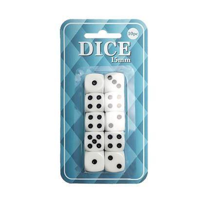 DICE PLASTIC 15MM 10PC