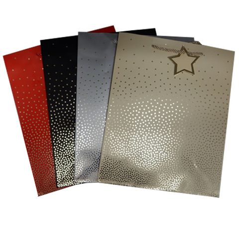 GIFT BAG GOLD STARS MEDIUM 4 ASSTD